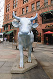 Blue bull art at 16th street mall Royalty Free Stock Photos
