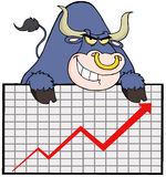 Blue bull with business graph Stock Photo