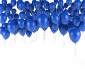 Blue bunch of Birthday balloons isolated in white. 3d render. Ing Stock Photography