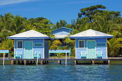 Blue bungalows overwater Royalty Free Stock Image
