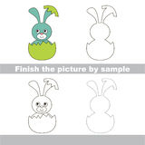 Blue Bunny in eggshell. Drawing worksheet. Stock Image