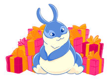 Blue Bunny enjoys the gifts. Character. Boxes with bows. Festive packaging. Vector illustration.T-shirt print. Greeting card Royalty Free Stock Photo