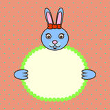 Blue bunny holding banner card in paws. Birthday Stock Image