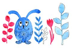 Blue bunny, rabbit. Border. Drawing in watercolor and graphic style for the design of prints, backgrounds, cards vector illustration