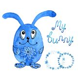 Blue bunny, rabbit. Invitation. Drawing in watercolor and graphic style for the design of prints, backgrounds, cards stock illustration