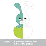 Blue Bunny to be colored. Vector trace game. Blue Bunny in vector colorful to be traced. Restore dashed line and color the picture. Visual game for kids Stock Images