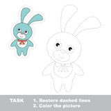 Blue Bunny to be traced. Vector trace game. Royalty Free Stock Photos