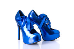 Blue burlesque style female shoes Stock Images