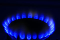 Blue burner gas cooker Royalty Free Stock Photos