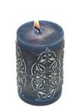 Blue burning candle Stock Photo