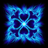 Blue burning fire cross. Illustration on black background for design Royalty Free Stock Photography
