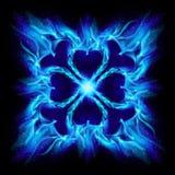 Blue burning fire cross. Illustration on black background for design royalty free illustration
