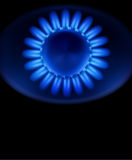 Blue burning gas gas stove Royalty Free Stock Photos