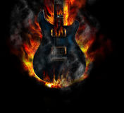 Blue burning guitar Royalty Free Stock Photo