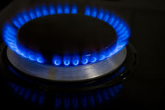 Blue Burning Stove Flame Stock Image