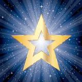 Blue burst fat star Stock Image