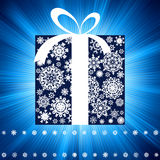 Blue burst with gift box. EPS 8 Stock Photos