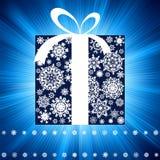 Blue burst with gift box. EPS 8 Royalty Free Stock Image