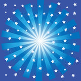 Blue burst with stars. On a dark blue background Stock Image