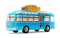 Blue bus adventure back Royalty Free Stock Photos