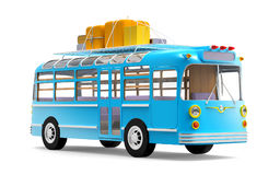 Blue bus adventure. Blue retro bus with roof rack luggage isolated on white. 3d illustration Royalty Free Stock Images