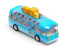 Blue bus adventure. Blue retro bus with roof rack luggage, isometric view, isolated on white. 3d illustration Royalty Free Stock Image