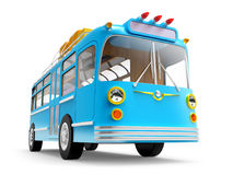 Blue bus adventure. Blue retro bus with roof rack luggage  on white. 3d illustration Stock Image