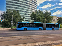 Blue bus in the bus station Royalty Free Stock Photo