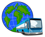 Blue bus coach with globe Stock Photography