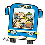Blue bus and kids, school bus, vector humorous illustration Royalty Free Stock Images