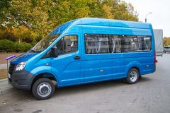 Blue bus in the parking lot royalty free stock photo