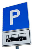 Blue bus parking sign Stock Image
