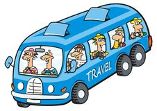 Blue bus with seniors. Bus and seniors. Seniors on the trip. Vector icon. Funny illustration Stock Photo