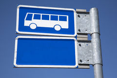 Blue Bus Sign Royalty Free Stock Photos