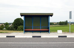 Blue bus stop royalty free stock images