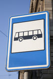 Blue Bus Stop Sign Stock Photo