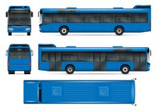 Blue bus vector mockup. Blue bus vector mock-up for advertising, corporate identity. Isolated city transport template on white background. Vehicle branding Royalty Free Stock Images