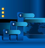 Blue business background with blue graph Royalty Free Stock Image