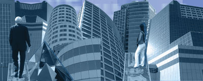 Blue business banner. This banner design shows a composition of skyscrapers. The businessman is entering the businessworld by walking on a $20 bill. The blue Stock Image