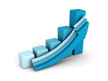 Blue business bar graph with rising up growing arrow. Success concept 3d render illustration Stock Photos