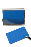 Blue Business (blank) card on White with pen. Stock Photo