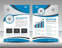 Blue business brochure flyer design layout template in A4 size. Cover, annual report, magazine ads, poster, catalog Stock Photography