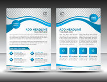 Blue business brochure flyer design layout template in A4 size,. Newsletter, leaflet, poster, vector, cover, annual report, magazine ads, catalog Royalty Free Stock Image