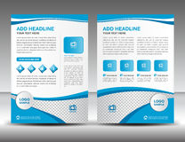 Blue business brochure flyer design layout template in A4 size,. Newsletter, leaflet,vector, cover, annual report, magazine ads, poster, catalog Stock Photos