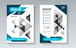 Blue business brochure flyer layout template in geometric style. Can be used for cover, book, magazine, booklet, leaflet. A4 size. Vector illustration Stock Photos