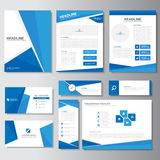Blue business brochure flyer leaflet presentation card template Infographic elements flat design set for marketing royalty free illustration