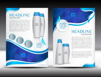 Blue business brochure flyer template design newsletter magazine. Ads cosmetics, advertisement, leaflet, poster, annual report, cover template, booklet Royalty Free Stock Photo