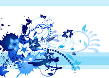 Blue business card. An inkblot white business card with blue swerls and inkblot Stock Images