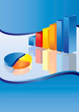 Blue Business Chart. 3d financial graph stat business background Stock Images