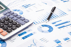 Blue business charts, graphs, information and reports Royalty Free Stock Photos